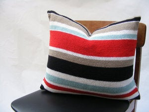 Image of Hand Knit Cushion 50 x 50cm - red stripe