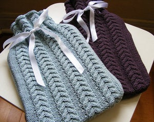 Image of Hand Knit Cable Hotwater Bottle - pick your colour