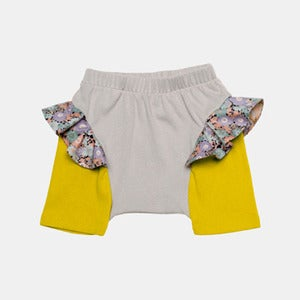 Image of Ruffle Shorts - Grey+Yellow
