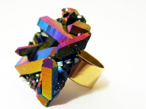 Image of Titanium Aura Quartz Ring