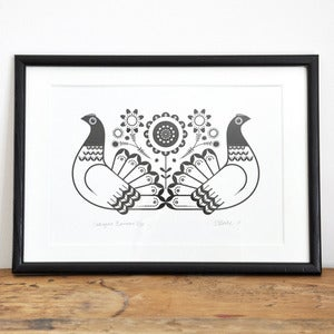 Image of Sebright Bantams - Hand Pulled, Signed, Gocco Screen Print