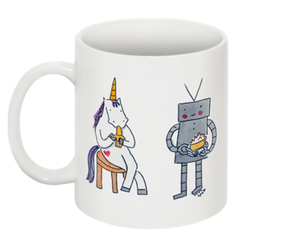 Image of Mugs: Unicorn and Robot Eating Banana and Cream Pie
