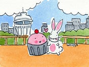 Image of Original Framed Mini Painting: Cupcake and Bunny in Seattle!