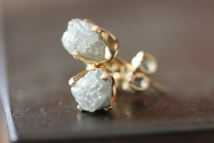 Image of Large Rough Diamond Stud Earrings