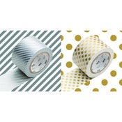 Image of MT Masking Tape wide, silver stripes, gold dots