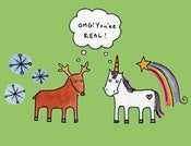 Image of 50 PERCENT OFF SALE: 10 Pack of Unicorn and Reindeer OMG You're Real Cards