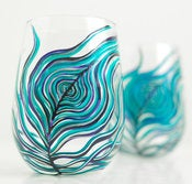 Image of Peahen Peacock Feather Stemless Wine Glasses-Set of 2