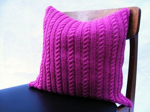 Image of Hand Knit Cushion 40 x 40cm - cerise cable knit