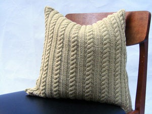 Image of Hand Knit Cushion 40 x 40cm - avocado cable knit