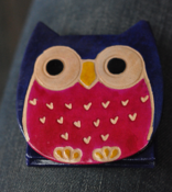 Image of Leather handmade Owl coin purse