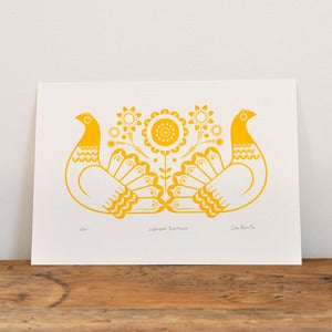 Image of Sebright Bantams in Golden Yellow - Hand Pulled, Signed, Gocco Screen Print