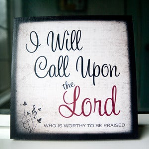 Image of &quot;I Will Call Upon the Lord&quot; Print on 8&quot; x 8&quot; Cafe Mount (2nd of 4 prints in Hymn Collection)