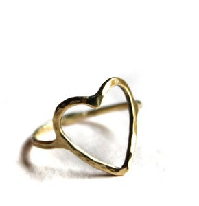 Image of 14k Gold Open Heart Ring