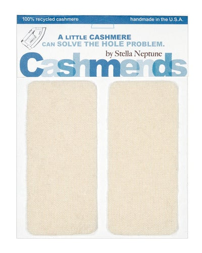 Image of  Iron-On Cashmere Elbow Patches - CREAM