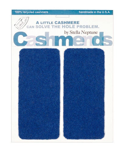 Image of Iron-on Cashmere Elbow Patches  - CLASSIC BLUE