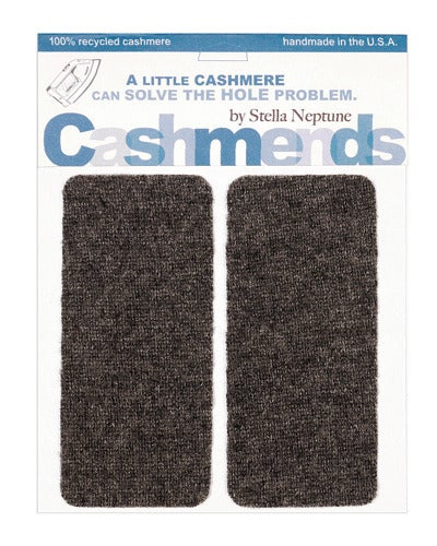 Image of Iron-on Cashmere Elbow Patches - DARK GREY