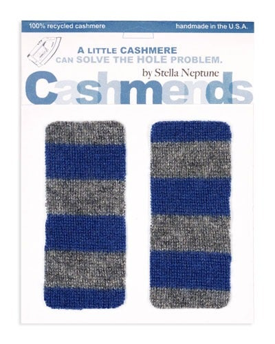Image of Iron-on Cashmere Elbow Patches - BLUE & GREY - Limited Edition!