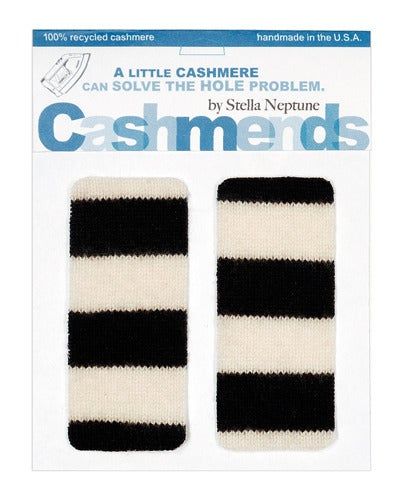 Image of Iron-on Cashmere Elbow Pads - Black & White wide Stripes - Limited Edition!