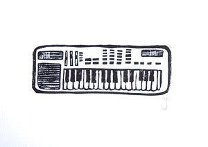 Image of casio sk1 - 8x10 linocut print - black