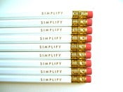 Image of pencils - simplify - 9 white pencils