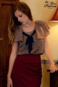 Image of Frill Shoulder Tie Front Blouse (Light Brown)