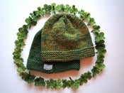 Image of *Handmade* Green Beanie + Shamrock Clip (limited edition)