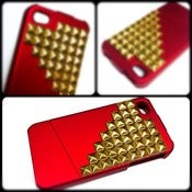 Image of Red & Gold Studded Iphone 4 case