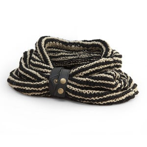 Image of VELA Handknit Banana Yarn Snood with Leather Strap - THIN STRIPE