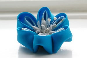 Image of Turquoise and Blue Kanzashi Flower Brooch Pin: Kanzashi Corsage in Blue Teal