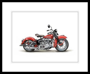 Image of 1946 Harley Davidson EL Knucklehead (Red) - Unframed