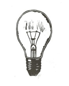 Image of lightbulb - 8x10 linocut print - black