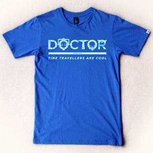 "Image of ""DOCTOR (Time Travellers Are Cool)"" - Bright Royal Blue tee"