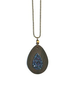 Image of Wood & Indigo Druzy Necklace