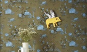 Image of Woodlands Wallpaper Khaki Blue