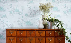 Image of Woodlands Wallpaper Blue Green Grey