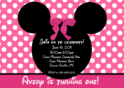 Image of Pink & Pretty Minnie Mouse Invitation