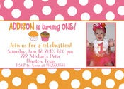 Image of Tangerine Cupcake Invitation