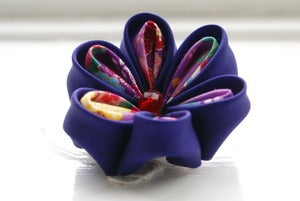 Image of Purple Kanzashi Flower Hair Clip and Brooch Pin: Deep Purple Hair Flower