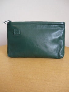 Image of Anne Klein green leather clutch