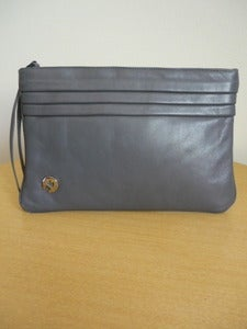 Image of Aigner grey leather clutch