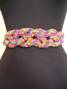 Image of braided rainbow cord belt