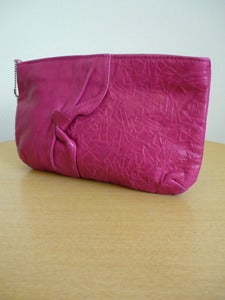 Image of Letisse magenta leather clutch