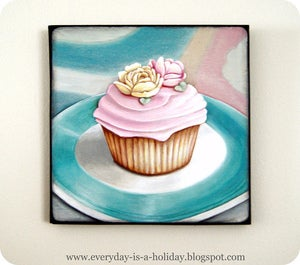 Image of Instagram inspired wood mounted print Cupcake #1