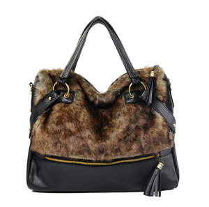 Image of Brown Faux Fur Black Shoulder Hand Bag