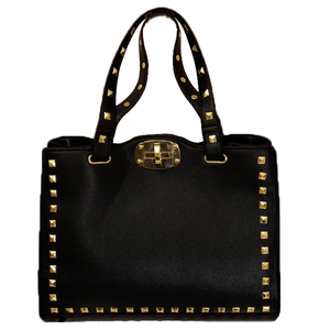 Image of Hot Punk Black Gold Studded Shoulder Hand Bag