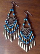 Image of Teal Exotic Earrings (3 1/2 inches)