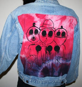 Image of Stitched up! 'MAFIA KIDS' Ladies Denim jacket light blue/ pink (medium)