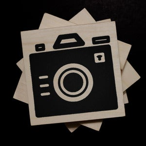 Image of Iconic Camera - Wood Block Coasters