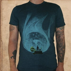 Image of Time Machine - black aqua - discharge ink - unisex - 50/50