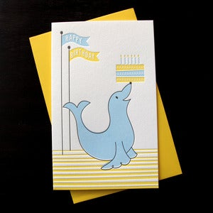 Image of 1213 - barking seal letterpress birthday card